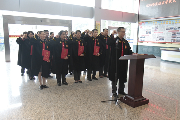 岑溪市人民法院举行新任部门领导就职暨宪法宣誓仪式